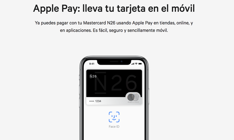 N26 dispone de tarjeta para Apple Pay